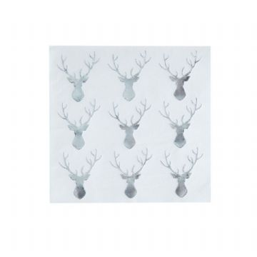 Silver & White Stags Head Christmas Paper Napkins